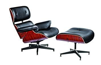 Eames Style Lounge Chair And Ottoman In Black Top Grain Italian Leather