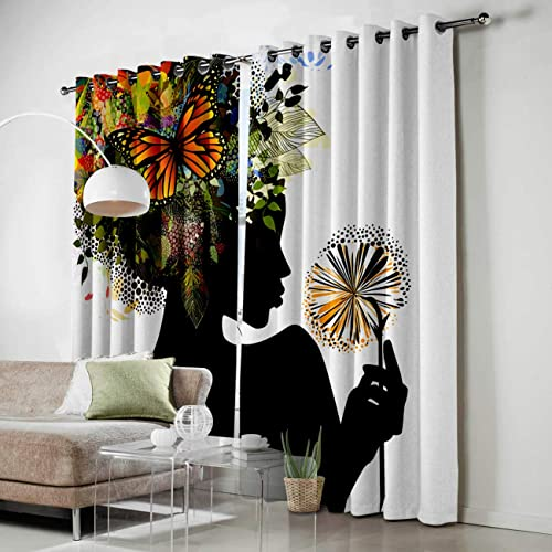 FortuneHouse8 Blackout Curtains Thermal Insulated African American Black Girl Funny Woman Room Drapes Window Curtain