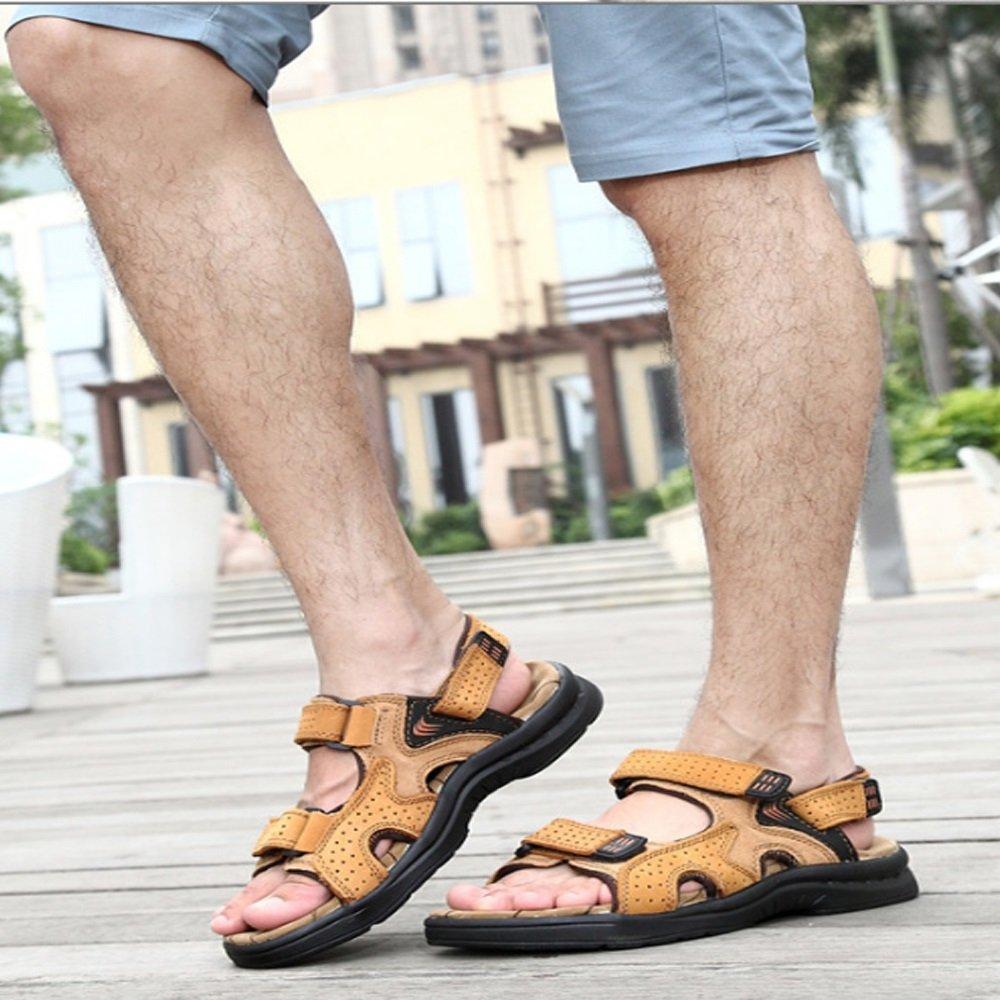 Qingqing Männer Comfort Offene Zehe Casual Leder Comfort Männer Schuhe Sandalen geeignet für Innen- und Outdoor-Freizeit-Sport Herren LederSandale geschlossen Schweißabsorbiere (Farbe : Yellow, Größe : 42 EU) Yellow 81c4b7