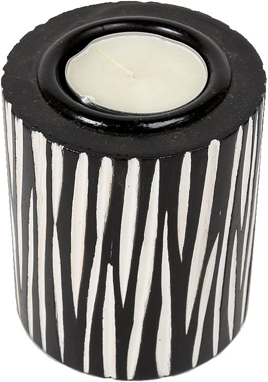 Truu Design Zebra Print Wooden Tealight Candle Holder, 3.25-inches, Black