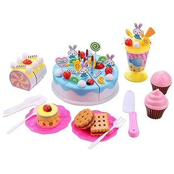 Smibie Pastel de Cumpleaños Juguete para Cortar Set de Juguete de Comida con Postre Frutas Cookies Cupcake Reyes Magos para Niños (Azul 70pcs)