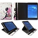 """LexiTab Fluo XL Premium Edition 10"""" HD Tablette Fleur Fille Papillon Universel 360° Rotation Étui Coque Housse ( 9 - 10 Pouces ) de Sweet Tech"""