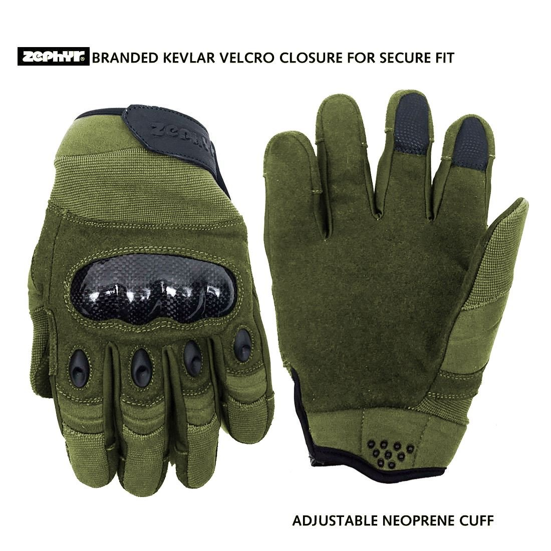 Zephyr Tactical Full Finger Carbon Fiber Knuckle Gloves w/Touchscreen Technology - Olive - Medium by Zephyr Tactical