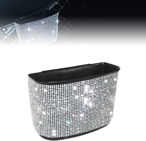 idain Bling Crystal Car Trash Can Auto Hanging Car Trash Can Sparkling Storage Holder Litter Container for Vehicle Office Home (White Rhinestone)
