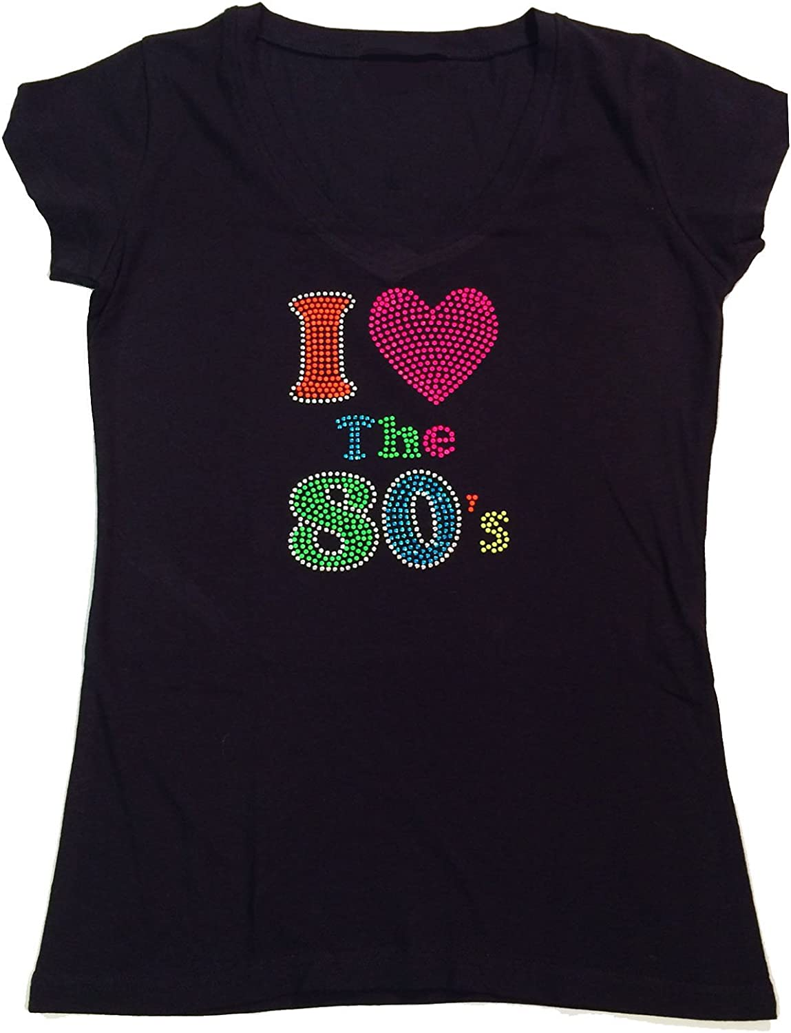 BACK TO THE EIGHTIES 80s  Music Ladies Fitted t Shirt With Rhinestuds ANY SIZE