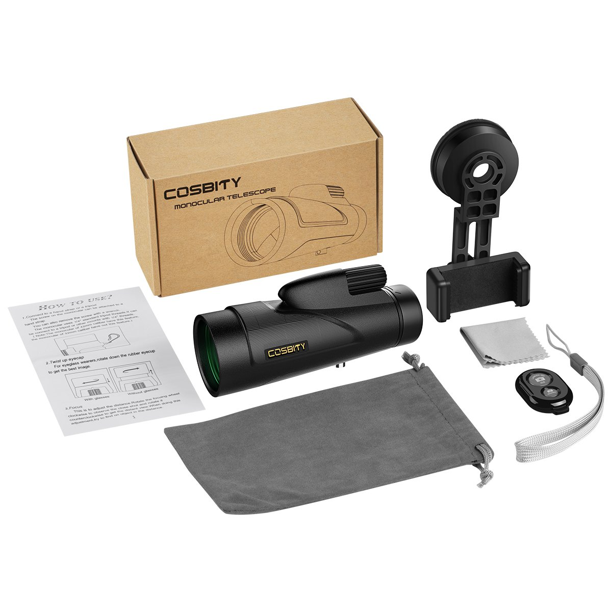 Monocular Telescopes 12x50 Low Night Vision Spotting Scope for Adults with Cell Phone Photography Adapter and Wireless Camera Shutter Remote Control for Bird Watching//Hunting//Camping//Travelling