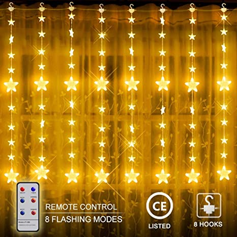 Cadena Luces LED - CroLED Luz Cadena Cortina IP44 Resistente al Agua Estrellas LED Cortina de
