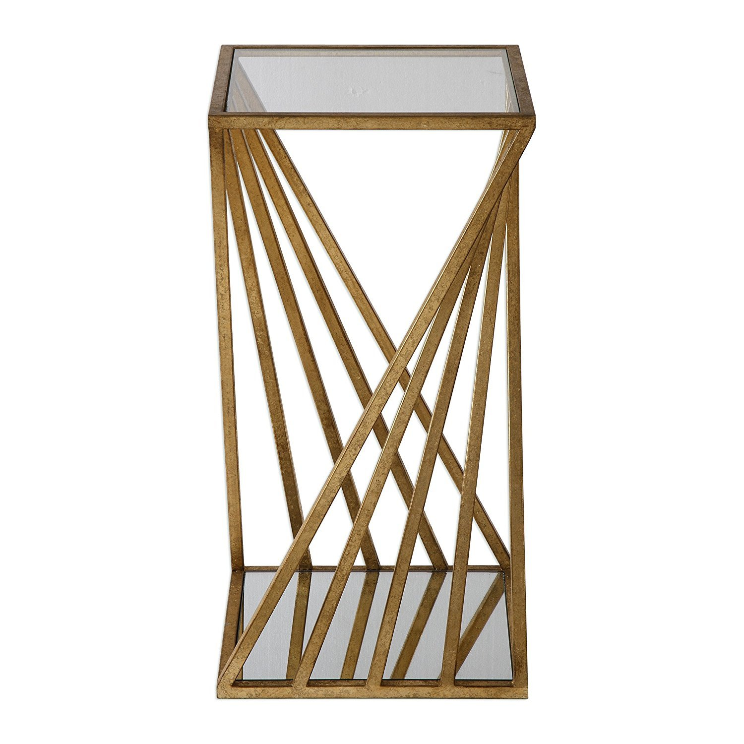 Gold Angle Geometric Square Accent Table Open Pedestal Column Modern