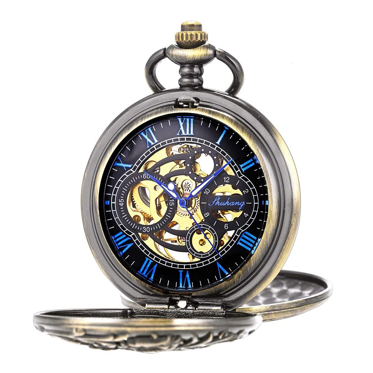 Pocket Watch Antique Dragon Mechanical Skeleton SIBOSUN Double Cover with Chain Men - Blue by SIBOSUN