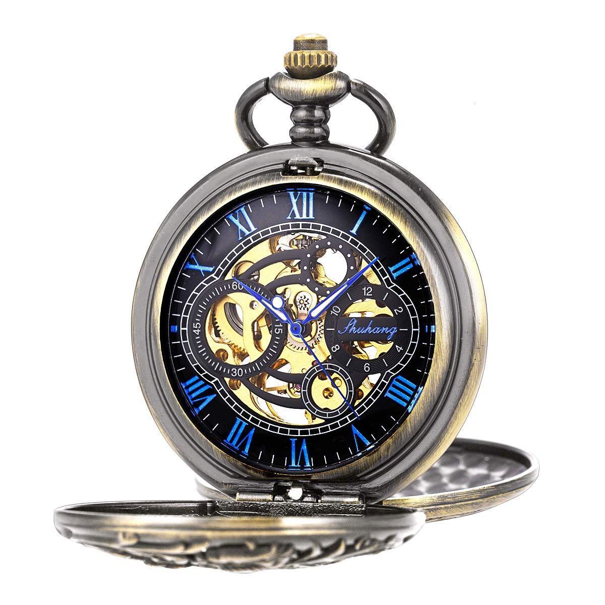 SIBOSUN Pocket Watch Mechanical Skeleton Silver Roman Numerals Steampunk Smooth Double Case Fob Watch for Men Women with Chain