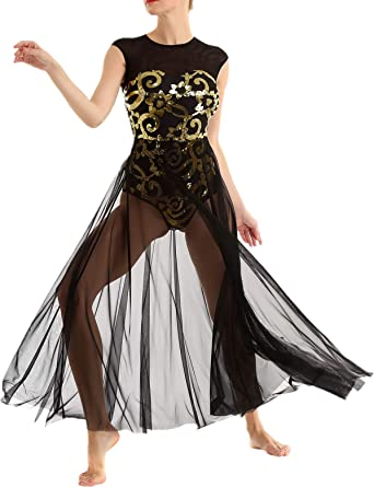 FYMNSI Women Lyrical Dance Dress Modern Contemporary Dancewear Costume Shiny Sequins Ballroom Ballet Leotard Tank Bodysuit Mesh Split Tulle Maxi Long Overlay Dress