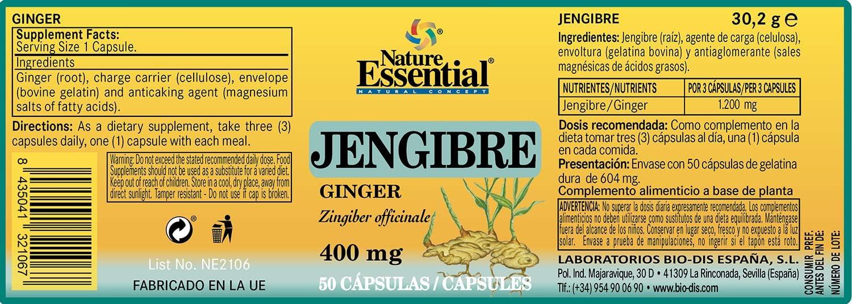 Jengibre 400 mg. 50 cápsulas: Amazon.es: Salud y cuidado personal