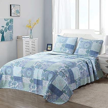Patchwork Quilt Bedding Sets.Cozy Line Home Fashions Soft Lightweight Cotton Floral Blue Patchwork Quilt Bedding Set Twin