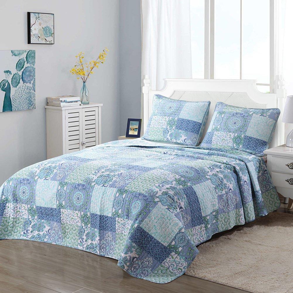 Cozy Line Home Fashions Soft Lightweight Cotton Floral Blue Patchwork Quilt Bedding Set King, Blue