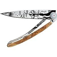 Couteau de poche pliant ultra léger avec clip ceinture - Version Genévrier 37g - Lame fine et tranchante - Motif Escalade - En acier inoxydable - Design élégant et moderne