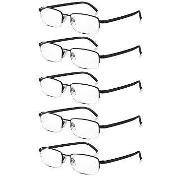 1bc1fc3b92 Read Optics 5 Pack Half Frame Reading Glasses  Vintage Black Metal  Semi-Rimless Ready
