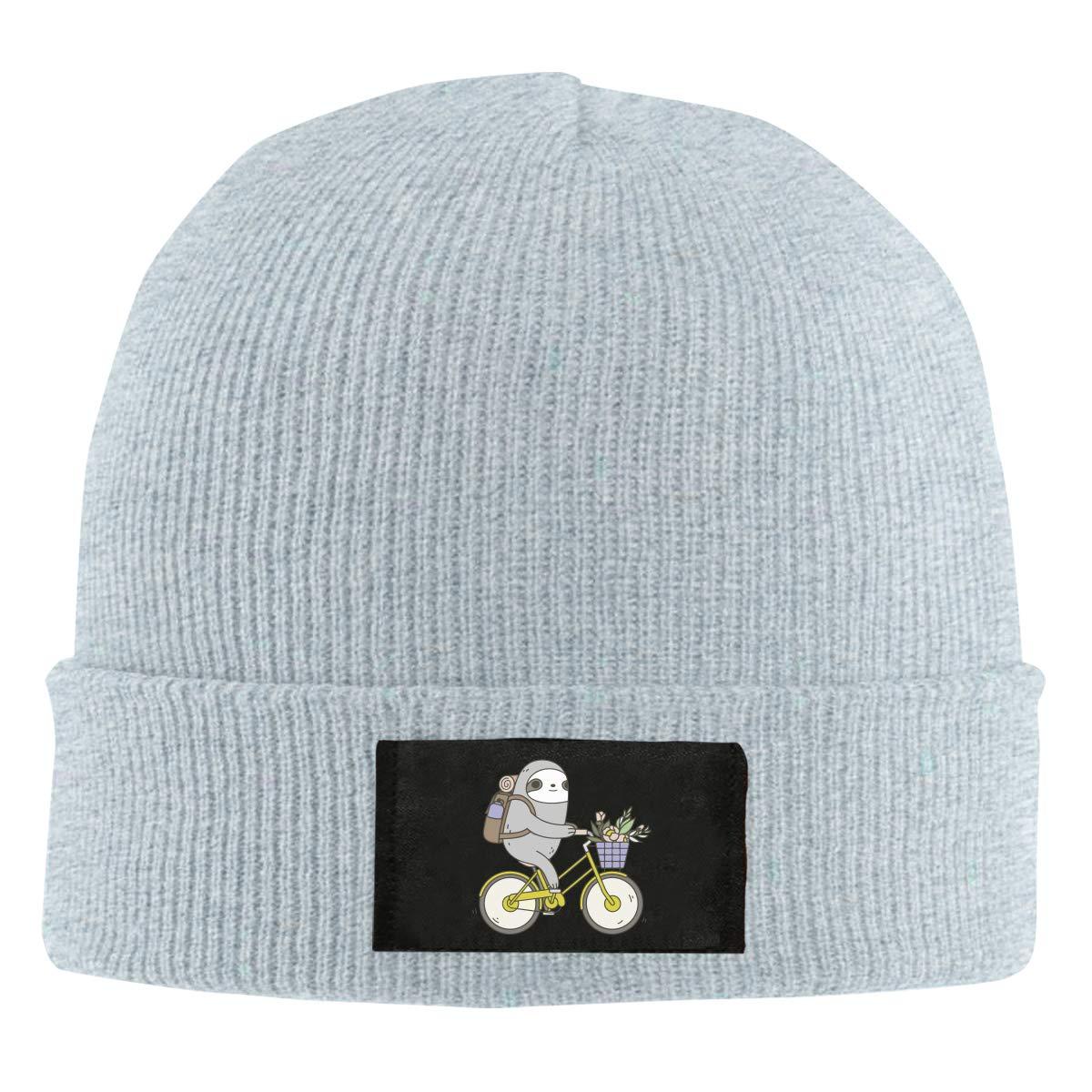 ASDGEGASFAS Unisex Biking Sloth Skull Cap Knit Wool Beanie Hat Stretchy Solid Daily Wear