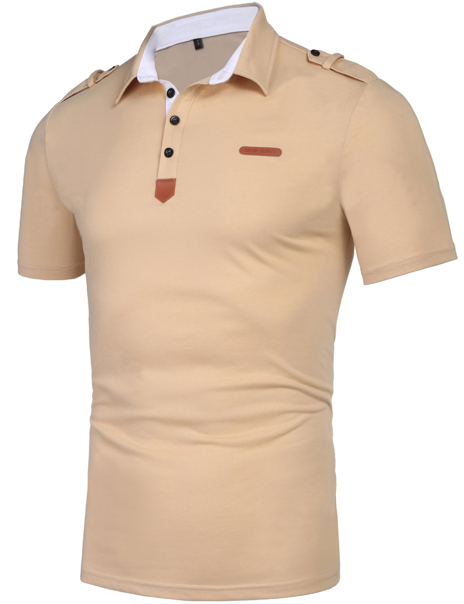 Daupanzees Men's Polo Shirts Classic Fit Four-Button Placket Straight Fit Contrast Leather Solid Short Sleeve Pique Polo Shirt (Beige XL)