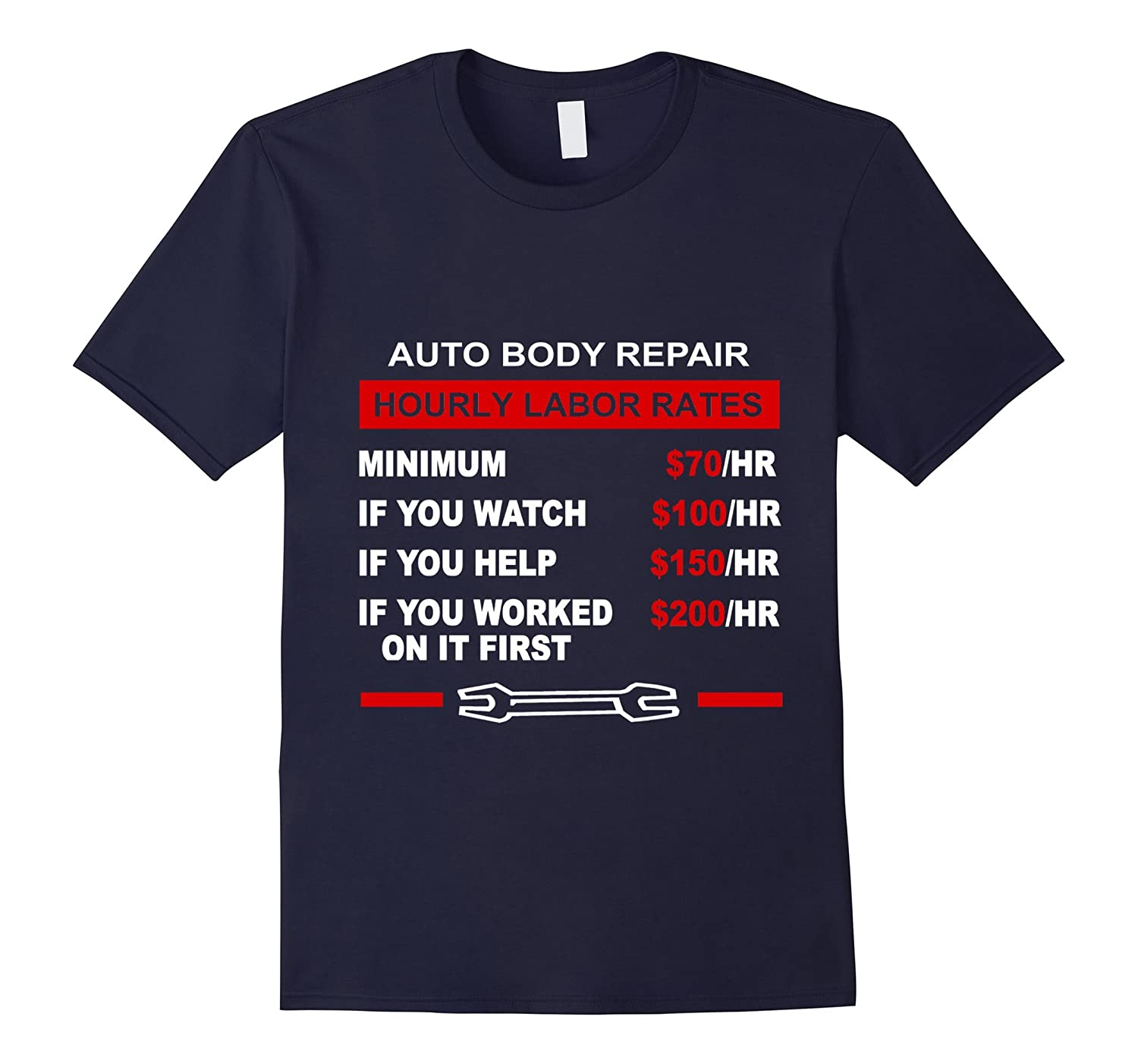 Auto Body Repair Hourly Labor Rates T-shirt-TH
