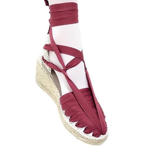 Alpargatas Cuña Alta Pintxo o Siete Vetas Granate: Amazon.es: Zapatos y complementos
