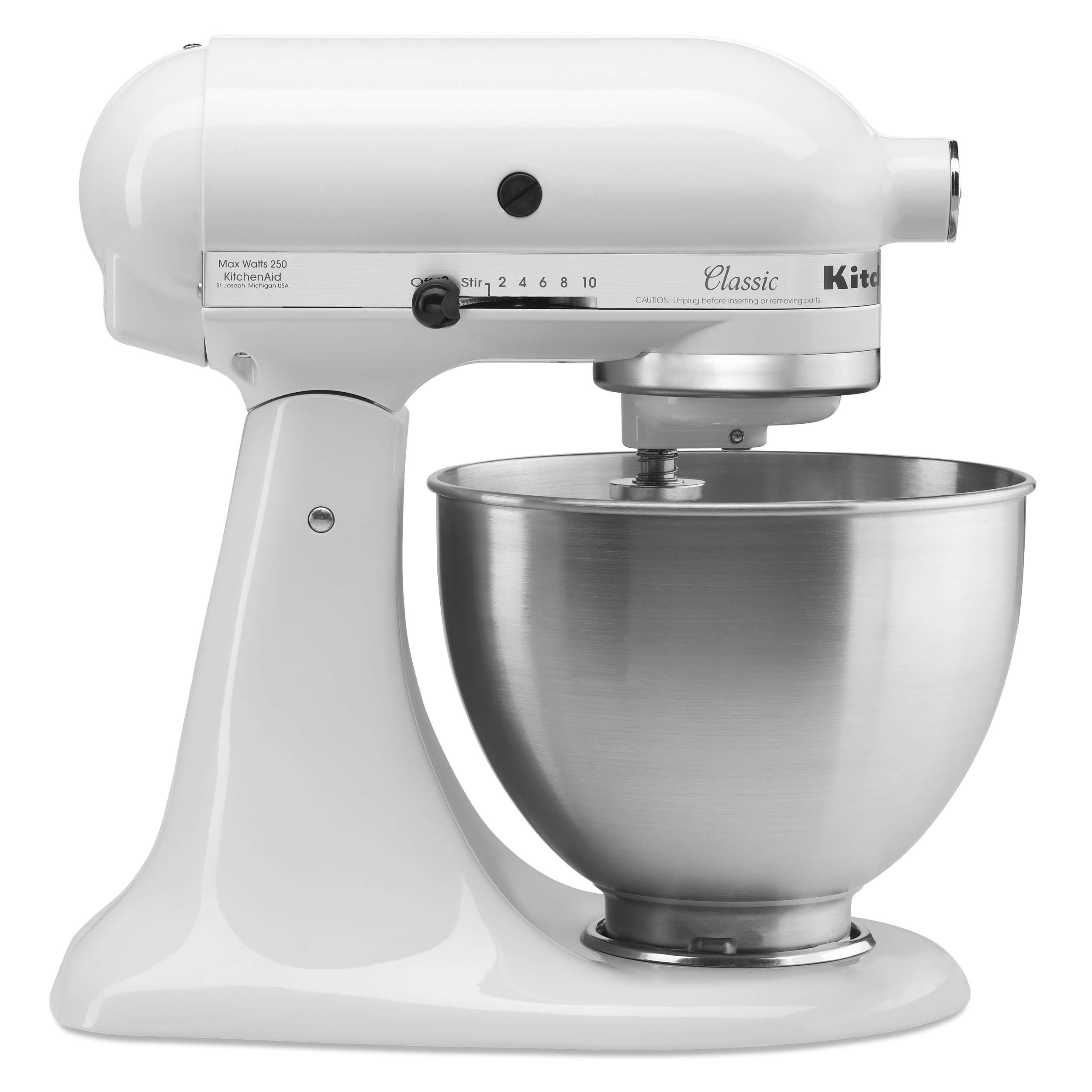 KitchenAid 5K45SSBWH Classic Stand Mixer, 4.3 Litre, White