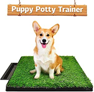 Ezonedeal Dog Toilet Indoor Puppy Training Pad, Dog Potty Pet Training Grass Mat, Removable Waste Tray for Easier Clean Up, Non-Toxic Artificial Turf, 63cm x 51cm (Dog Potty Try & 1 Grass mat)