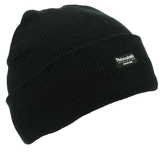 fffad3d502e Thinsulate Knitted Beanie Hat - Black - One Size  Amazon.co.uk ...