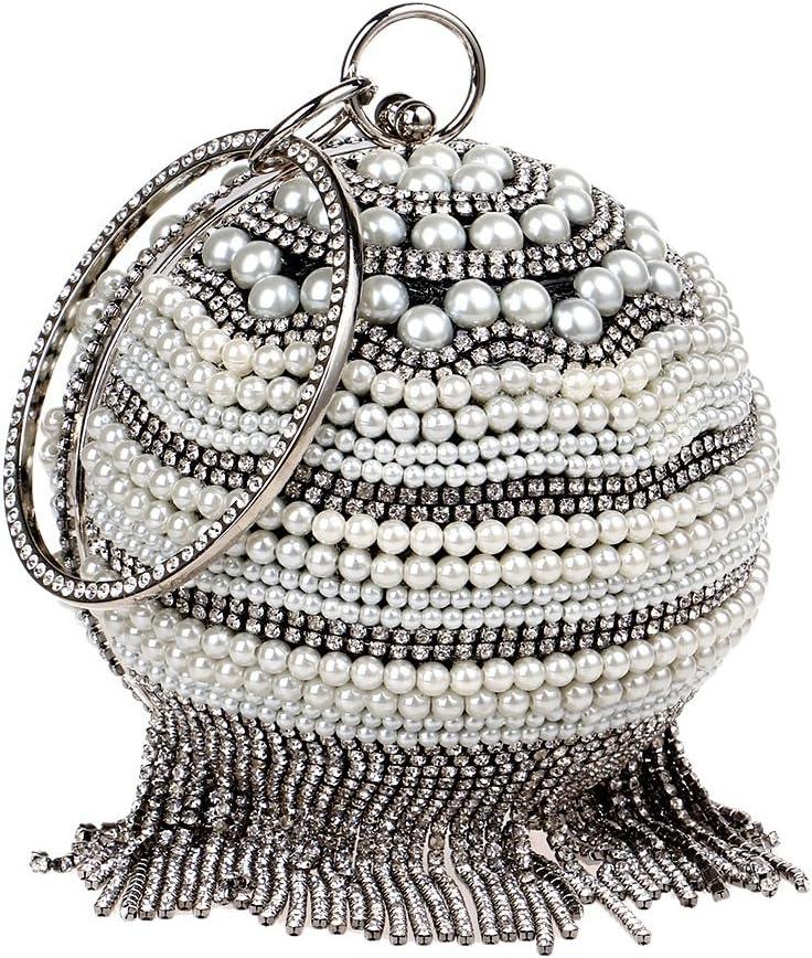 XIAOLULU-SWC Borsa da Ballo da Sera Perle per Borse per la Festa di Ballo Borse da Sposa per Feste da Donna (Colore : Oro) Nero