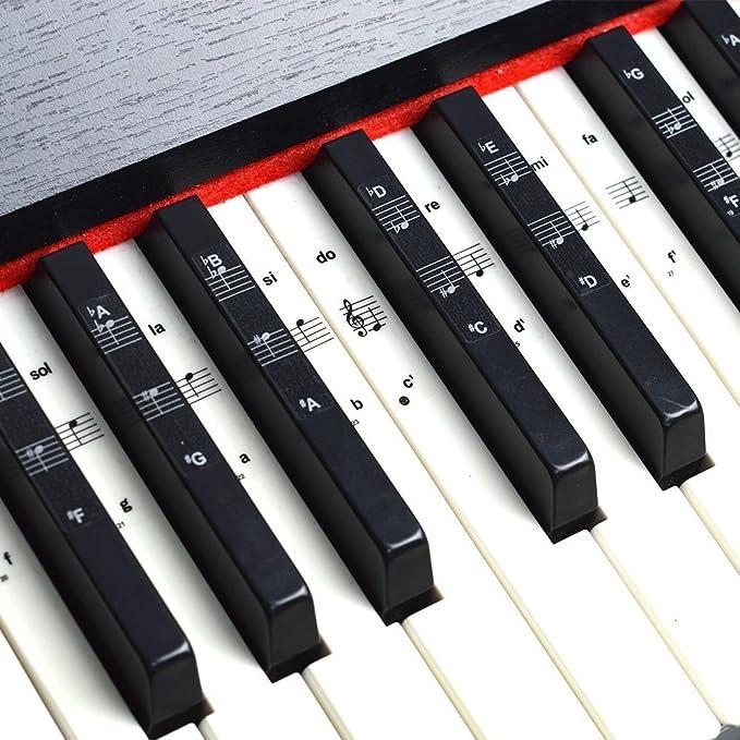 Imelod Pegatinas para teclado o piano para teclado de 49/61/76/88, juego completo de pegatinas para teclas blancas y negras, transparentes y ...