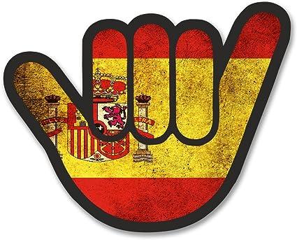 2 x 10cm/100 mm España Bandera española Shocker Etiqueta autoadhesiva de vinilo adhesivo portátil de viaje equipaje signo coche divertido #6175: Amazon.es: Coche y moto