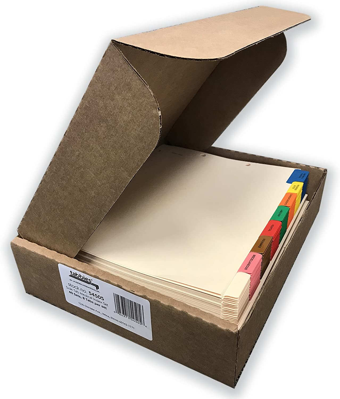Tabbies 54505 Medical Chart Divider Sets, Side Tab, 9 x 11, 40 Sets/Box (TAB54505), Assorted, Black, Manila