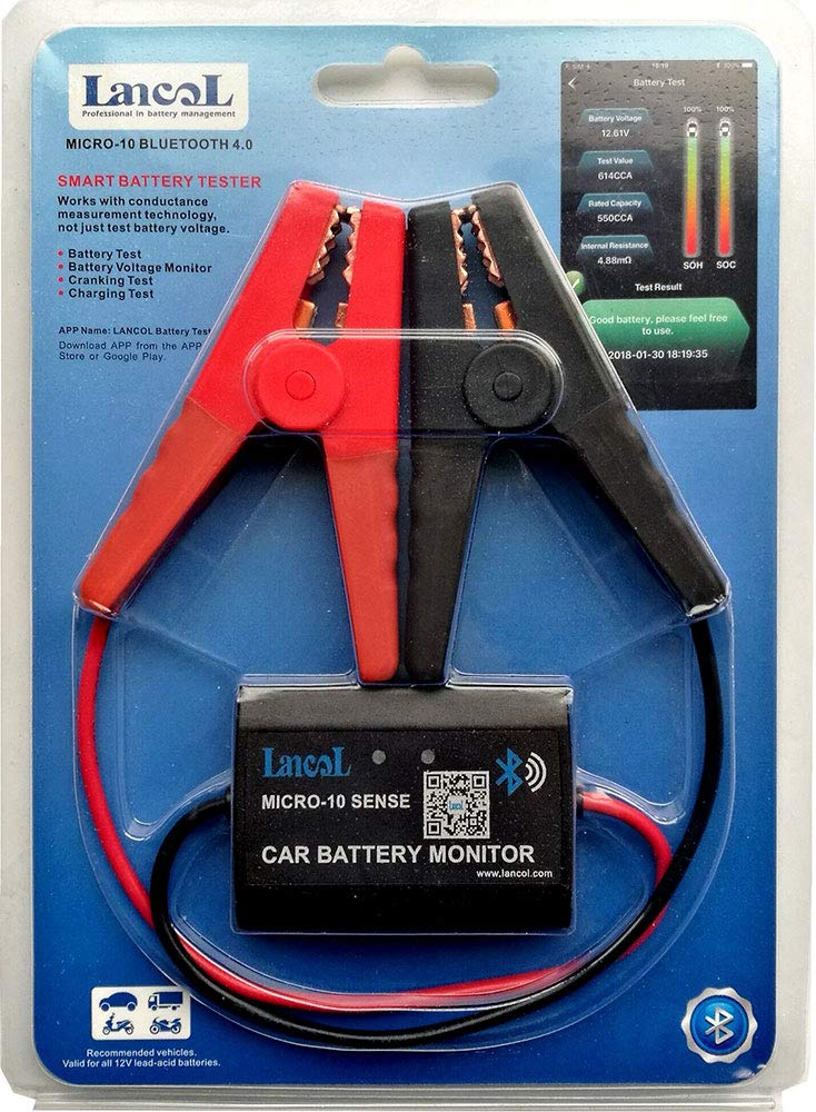 LANCOL MICRO-10 Battery Sensor Analyzer Car Battery Monitor Bluetooth 4.0 for iOS and Android
