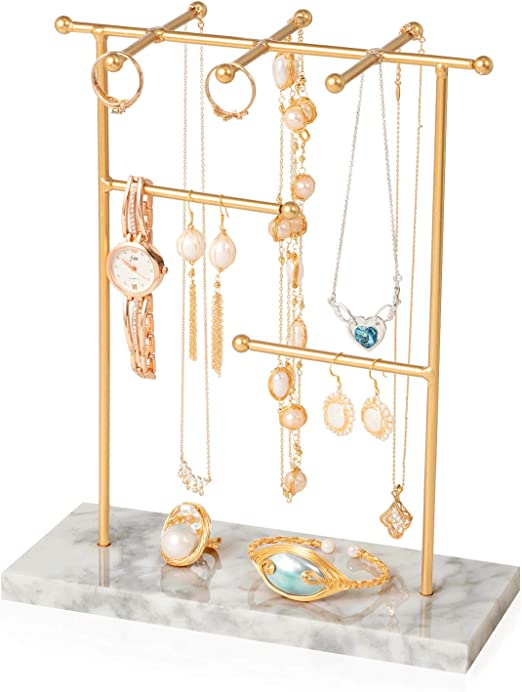 Amazon Com Marble Jewelry Stand Jewelry Tree Stand Holder Necklaces And Earrings Holder Jewelry Hanger Display Organizer Rack For Necklace Bracelets Earrings And Watches Gold Home Kitchen