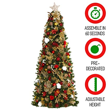 Amazon.com: Easy Treezy 7.5ft Prelit Christmas Tree, Easy Setup ...