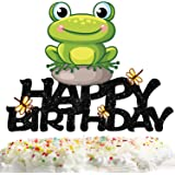 Frog Happy Birthday Cake Topper Decorations with for Animal Theme Picks for Baby Shower Party Decor Supplies