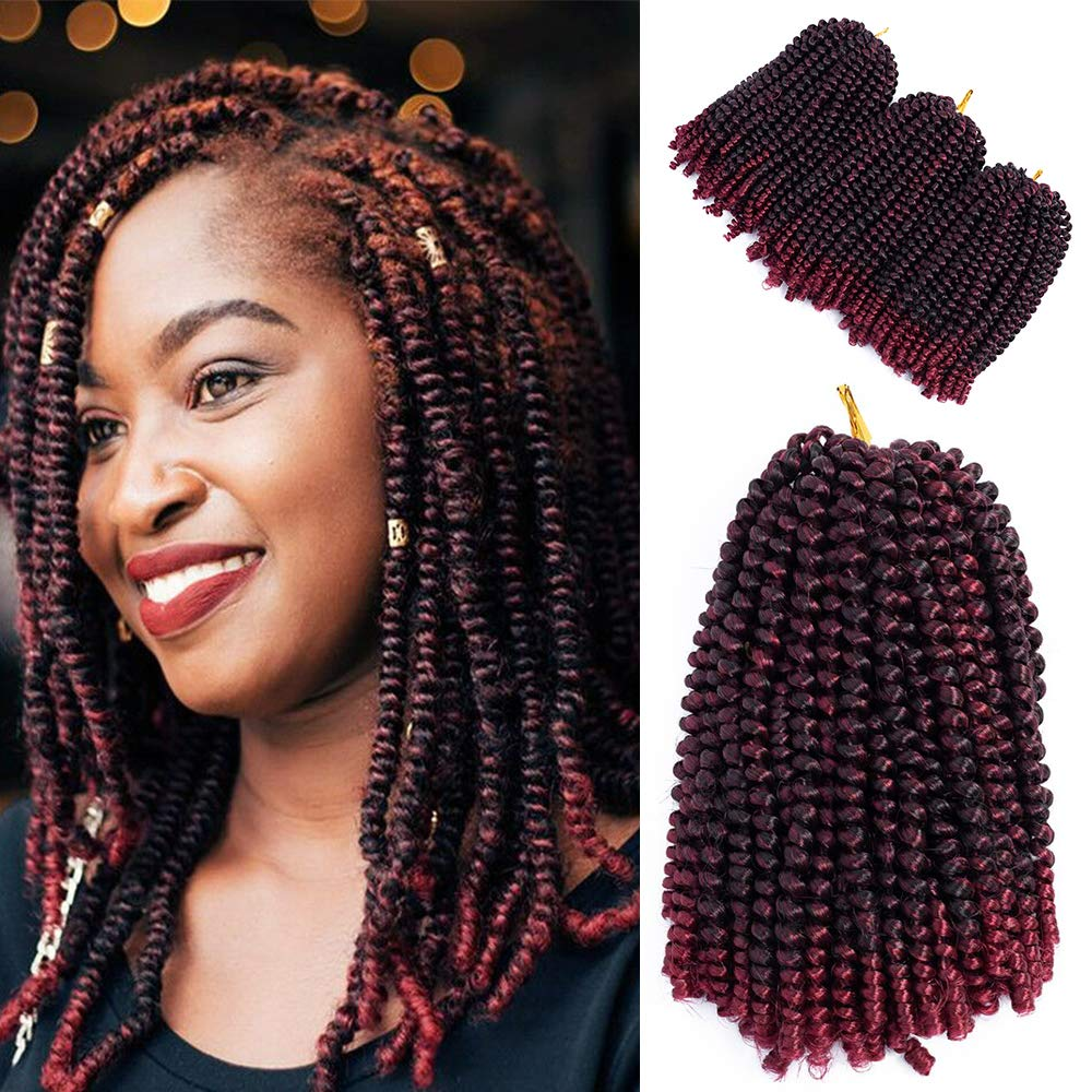 Mirra's Mirror 8inch 3packs Spring Twist Ombre Crochet Braids Hair Synthetic Natural Braiding Kinky Curl Hair Extension (8inch, T1B/BUG)