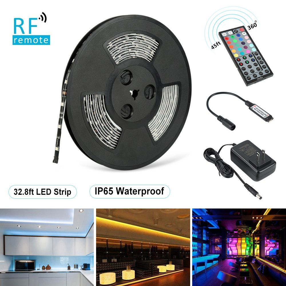 LED Strip Lights, Nexlux 32.8ft Waterproof IP65 5050 SMD RGB LED Flexible Strip Light Black PCB Board Color Changing Decoration Lighting 44 key RF Remote Controller+ UL approved Power Adapter