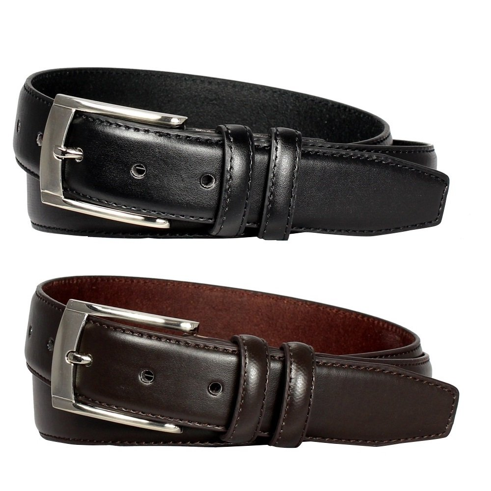 2 Pack: Men's Black & Brown Leather Dress Belts (42)