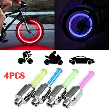 4PCS Blue LED Wheel Tyre Tire Valve Caps Neon Light Bulb for Bike Car US STOCK