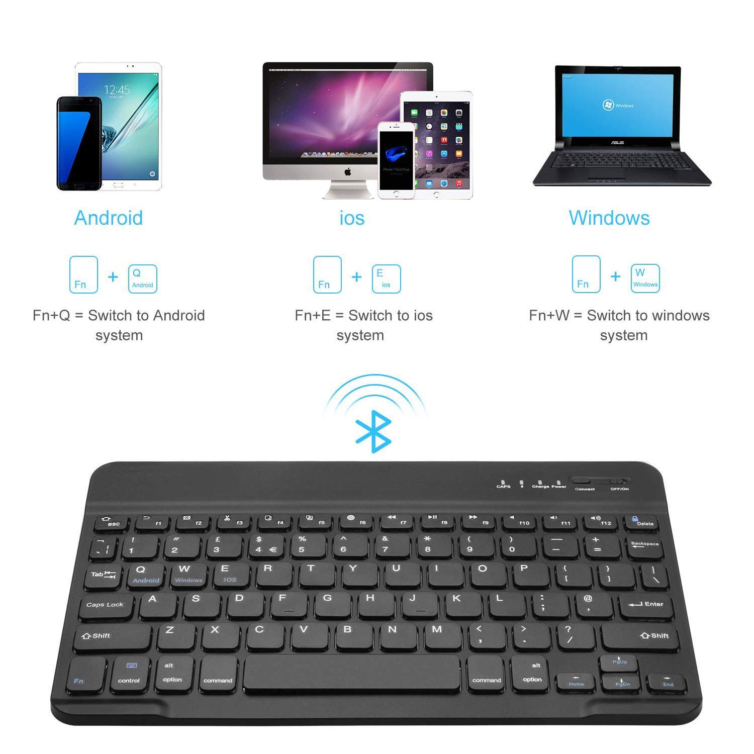 Black 7-Inch Mini Wireless Bluetooth Keyboard with Portable Rechargeable Compatible with All iOS,Mac,iPad,iPhone,Smart TV Samsung Tablets Phones Windows and Android OS