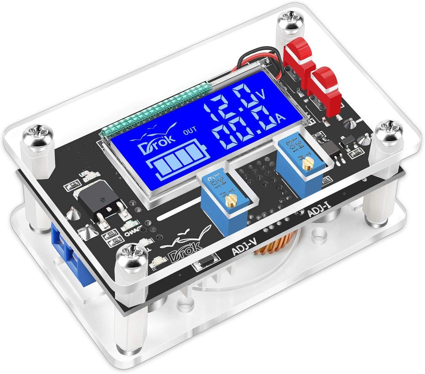 DC Buck Module, DROK Adjustable Buck Converter Step Down Voltage Regulator 6V-32V 30V 24V 12V to 1.5-32V 5V 5A LCD Power Supply Volt Reducer Transformer Module Board with USB Port Protective Case