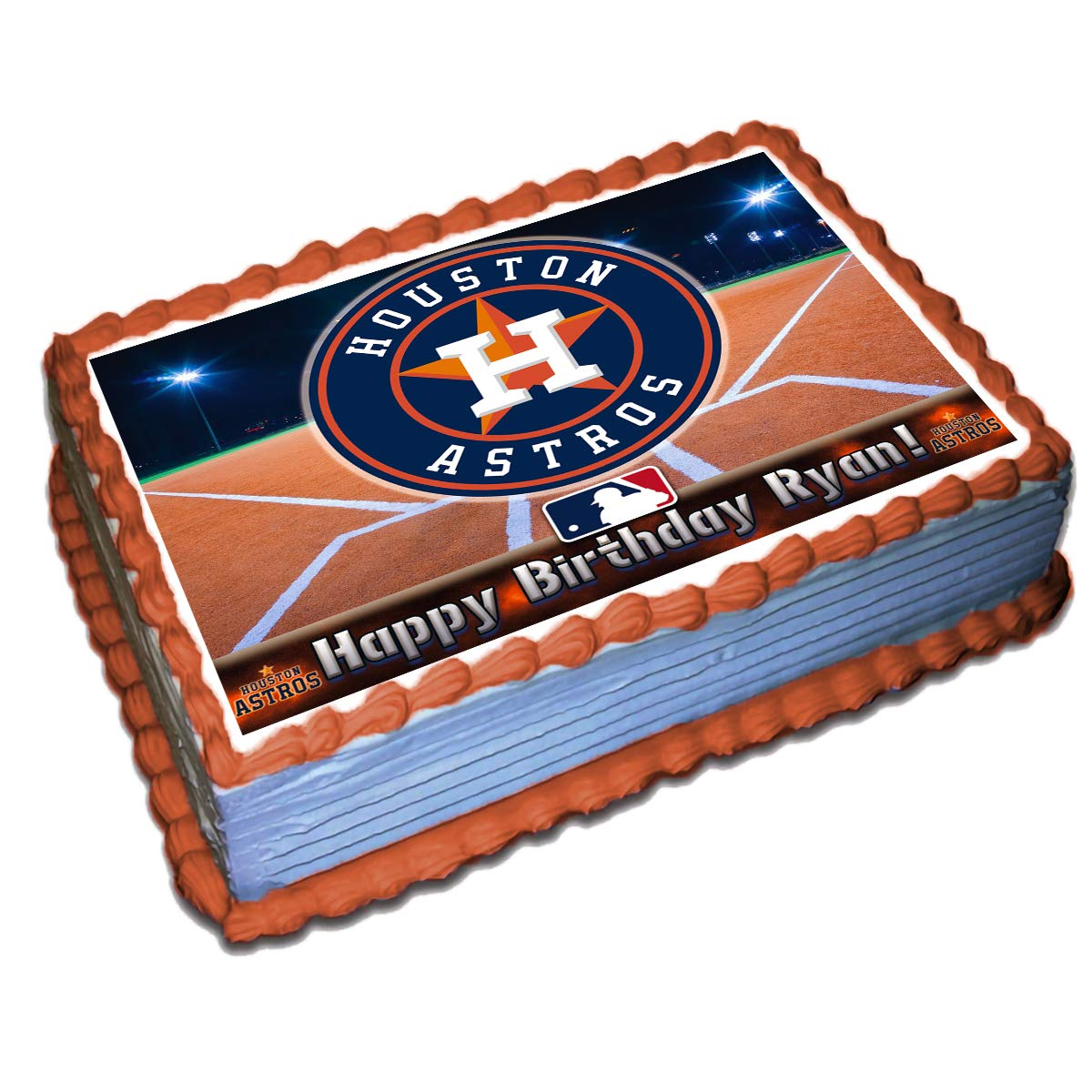 Enjoyable Houston Astros Mlb Personalized Cake Topper Icing Sugar Paper 1 4 Birthday Cards Printable Nowaargucafe Filternl