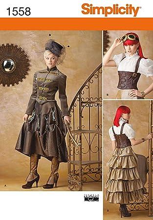 Simplicity us1558r5 Größe R5 Schnittmuster Steampunk Kostüm: Amazon ...