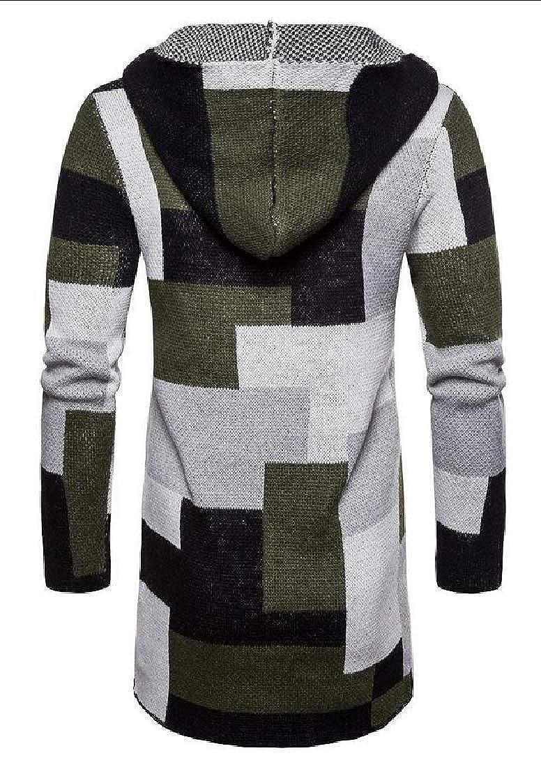desolateness Men Hooded Knit Patchwork Cardigan Long Sleeve Tops