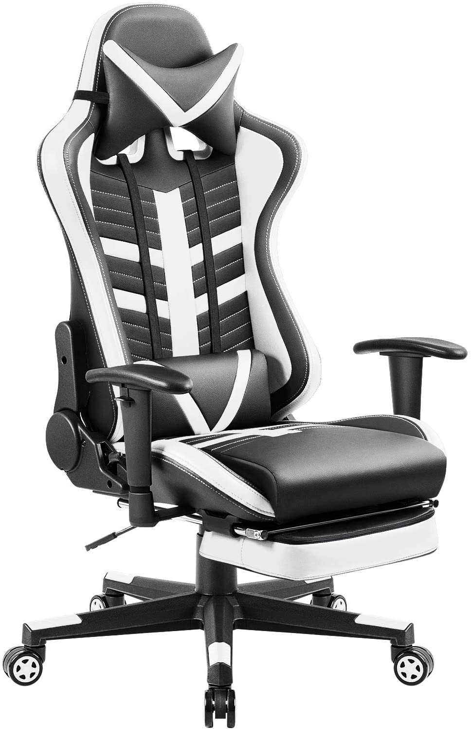 Homall Executive Desk Footrest Computer Swivel Office Headrest and Lumbar Support Ergonomic High-Back Racing Chair, Black/White