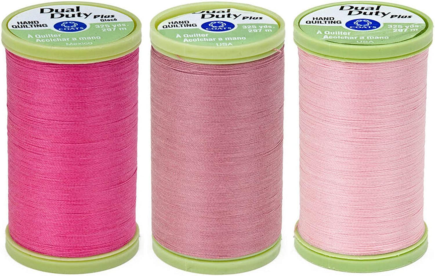 2-Pack Bundle Coats /& Clark Dual Duty Plus Hand Quilting Thread 325yds Hot Pink s960-1840