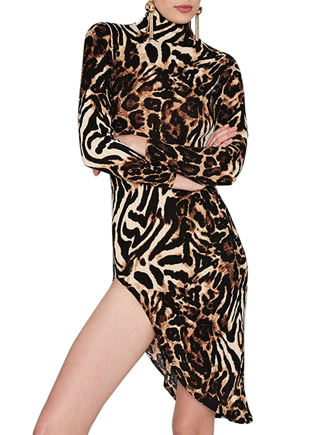 Haoduoyi Womens Sexy Leopard Print High Collar Asymmetric Bodycon Dress