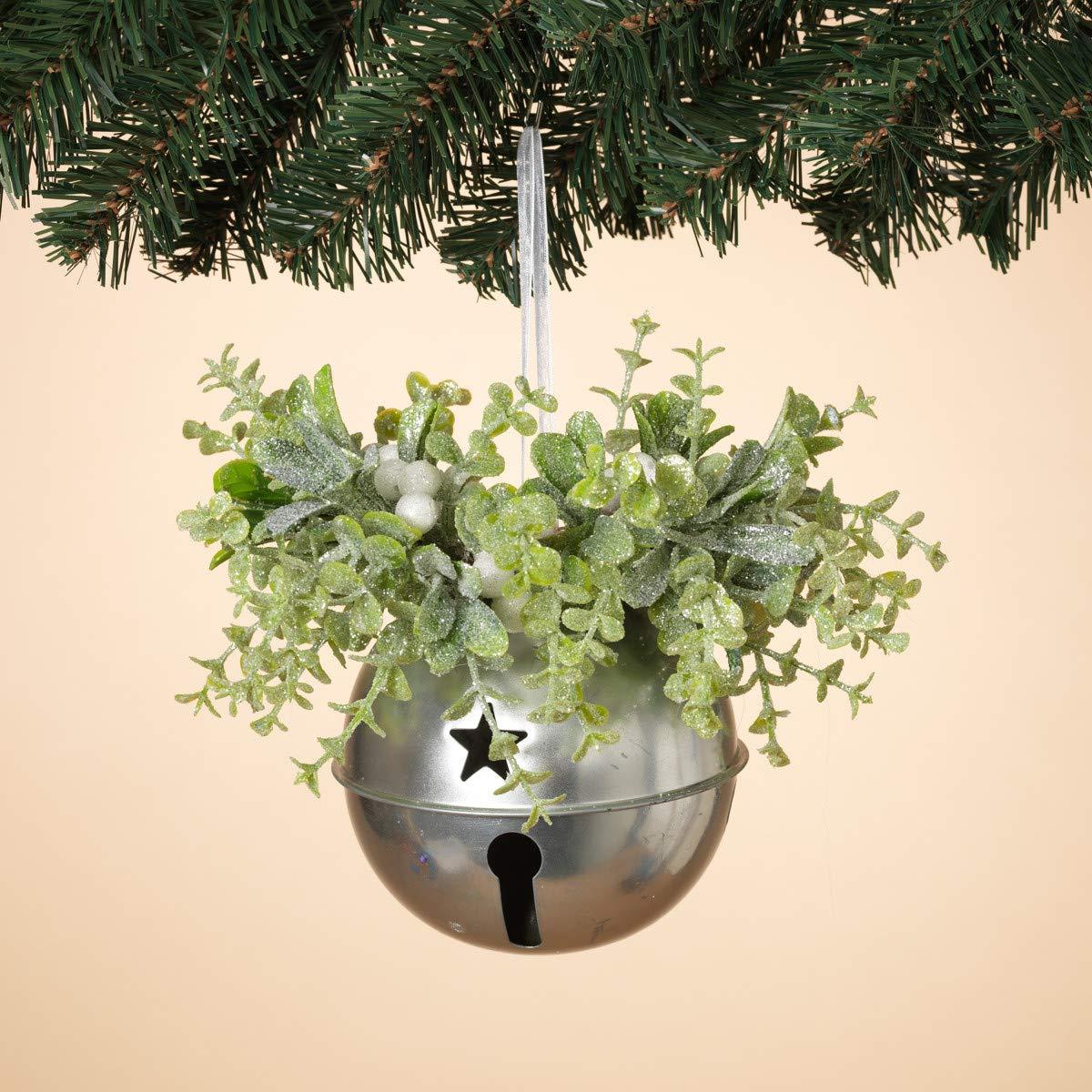 GIL 8'' H Holiday Mistletoe & Metal Christmas, 5InL x 5InW x 8InH, Green