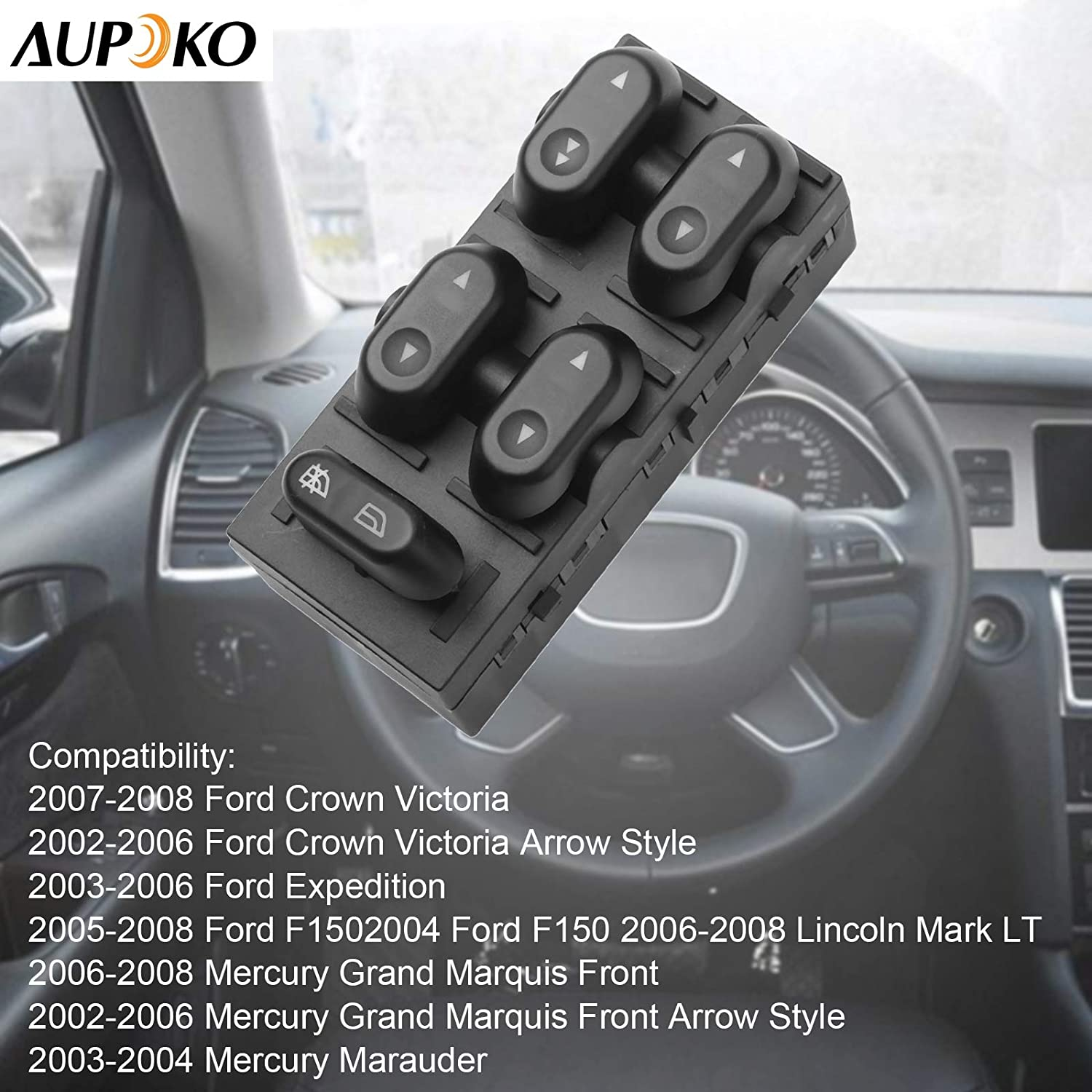 Fits for 2004-2008 Ford F-150 Aupoko Driver Side Master Power Window Switch 5L1Z14529AA 4L1Z-14529-AAA 2003-2008 Ford Crown Victoria 2003-2006 Ford Expedition Replaces# 5L1Z-14529-AA