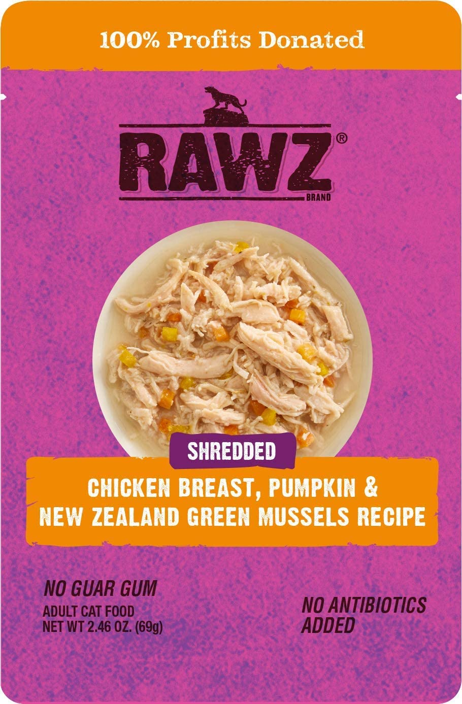 Rawz Shredded Chicken Breast, Pumpkin & New Zealand Green Mussels Recipe 8/2.46 oz Pouches